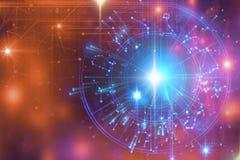 Astrologie- und Alchimiezeichenhintergrundillustration vektor abbildung