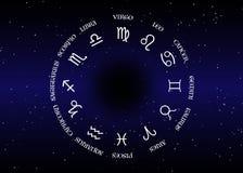 Astrologie und Horoskop - Zeichen des Tierkreises über Hintergrund des nächtlichen Himmels und dunklem des nächtlichen Himmels de lizenzfreie abbildung
