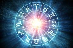 Astrologie- und Horoskopkonzept Tierkreis kennzeichnet innen Kreis 3D übertrug Abbildung lizenzfreie abbildung