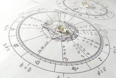 Astrologiediagramm Quarz-Naturstein-Crystal Natal-Diagramm stockfotografie