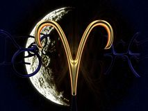 Astrologiesymbol im Gold mit dem Mond im Hintergrund - Widder stockfotografie