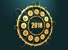 Astrologiesymbole im goldenen Kreis lizenzfreie abbildung