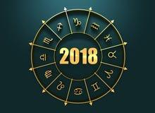 Astrologiesymbole im goldenen Kreis vektor abbildung
