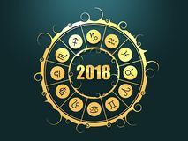 Astrologiesymbole im goldenen Kreis stock abbildung