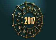 Astrologiesymbole im goldenen Kreis Stockbild