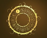 Astrologiesymbole im goldenen Kreis Das Bogenschützezeichen Lizenzfreie Stockfotografie