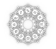 Astrologiesymbolen in cirkel Stock Foto's