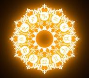Astrologiesymbolen in cirkel royalty-vrije stock afbeelding