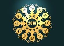 Astrologiesymbolen in cirkel royalty-vrije illustratie