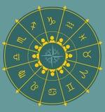 Astrologiesymbolen in cirkel Stock Fotografie