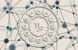 Astrologiesymbolen in cirkel Stock Afbeeldingen