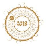 Astrologiesymbolen in cirkel Schorpioenteken Royalty-vrije Stock Afbeeldingen