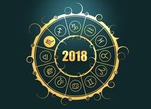 Astrologiesymbolen in cirkel Schorpioenteken Royalty-vrije Stock Afbeelding