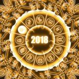 Astrologiesymbolen in cirkel Schorpioenteken Stock Afbeelding
