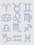 Astrologiesymbolen het van letters voorzien Stock Foto