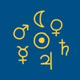 Astrologiesymbolen van de planeten, schets voor uw ontwerp vector illustratie