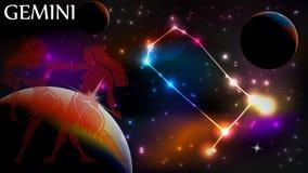 Astrologieteken - Tweeling Stock Foto