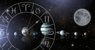 Astrologietierkreis mit Planeten im Raum und im Mond