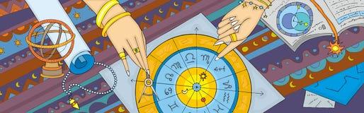Astrologii Prognostication sztandar ilustracja wektor