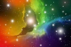 Astrologimystikerbakgrund abstrakt begrepp mot avstånd för stående för bakgrundskvinnlig ytterkant VektorDigital illustration av  Royaltyfria Foton