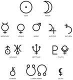 Astrologiplanetsymboler Arkivfoton