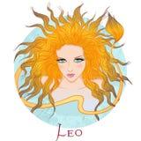Astrologisch teken van Leeuw als mooi meisje royalty-vrije illustratie