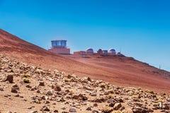 Astrologisch waarnemingscentrum op Haleakala-vulkaan in Hawaï Royalty-vrije Stock Afbeelding