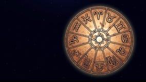 Astrologische dierenriemtekens binnen van de cirkel van de koperhoroscoop stock afbeelding