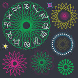 Astrologische geplaatste symbooldierenriem en mandalas Stock Foto