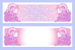 Astrologische Ram horizontale banners stock foto's