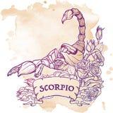 Astrologische Skorpionsschwarzskizze lokalisiert auf weißem Hintergrund Lizenzfreie Stockfotos