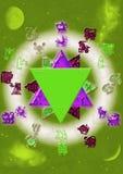 Astrologische symbolen met mystieke cirkel Royalty-vrije Stock Foto's