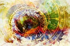 Astrologischer Symbol Tierkreis und Weinlesetaschenuhr Abstrakter Farbenhintergrund Computercollage lizenzfreie abbildung