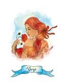 Astrologisches Zeichen der Jungfrau als schönes Mädchen Stockfotografie