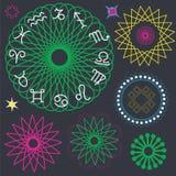 Astrologisk inställda symbolzodiac och mandalas Arkivfoto