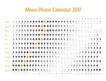Astrologisk kalender för vektor för 2017 Månefaskalender för mörker - grå färg på en vit bakgrund Arkivbild