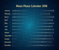 Astrologisk kalender för vektor för 2018 Månefaskalender i den stjärnklara himlen för natt Idérik mån- kalender med data Fotografering för Bildbyråer