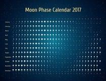 Astrologisk kalender för vektor för 2017 Månefaskalender i den stjärnklara himlen för natt Idérika idéer för mån- kalender Royaltyfri Bild