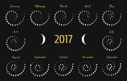 Astrologisk spiral kalender för vektor för 2017 Lunye faskalender för vit på en mörk grå bakgrund royaltyfri illustrationer