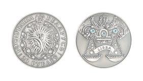 Astrologisk teckenVåg för silvermynt royaltyfria foton