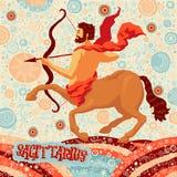 Astrologisk zodiakteckenSkytten Del av en uppsättning av horoskoptecken stock illustrationer