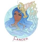 Astrologiskt tecken av cancer som en härlig afrikansk amerikanflicka vektor illustrationer