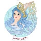 Astrologiskt tecken av cancer som en härlig flicka stock illustrationer