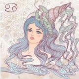 Astrologiskt tecken av cancer som en stående av den härliga flickan royaltyfri illustrationer