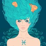 Astrologiskt tecken för Fiskarna som en härlig flicka. royaltyfri illustrationer