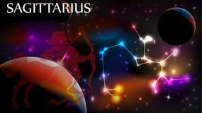 Astrologiskt tecken för Skytten och kopieringsutrymme Royaltyfria Bilder