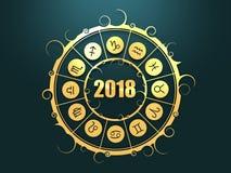 Astrologisymboler i guld- cirkel Royaltyfria Bilder