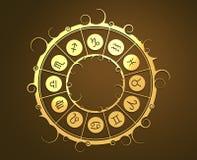 Astrologisymboler i guld- cirkel Arkivbilder