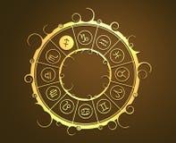 Astrologisymboler i guld- cirkel Bågskytttecknet Royaltyfri Fotografi