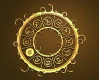 Astrologisymboler i guld- cirkel Det jungfru- tecknet Arkivfoto